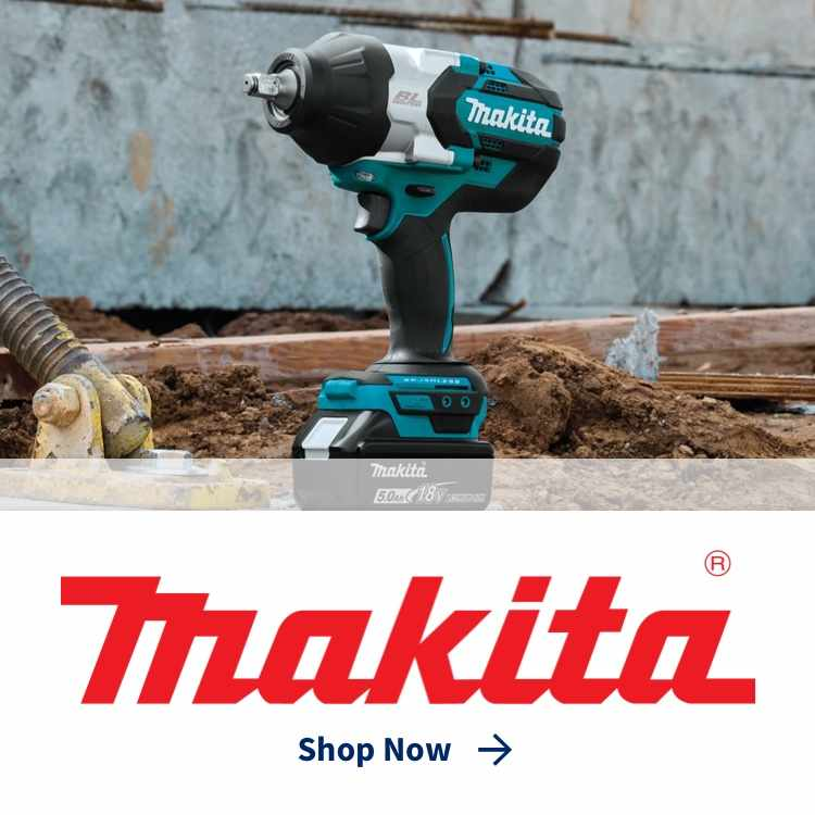 Makita logo with Makita power drill at building site
