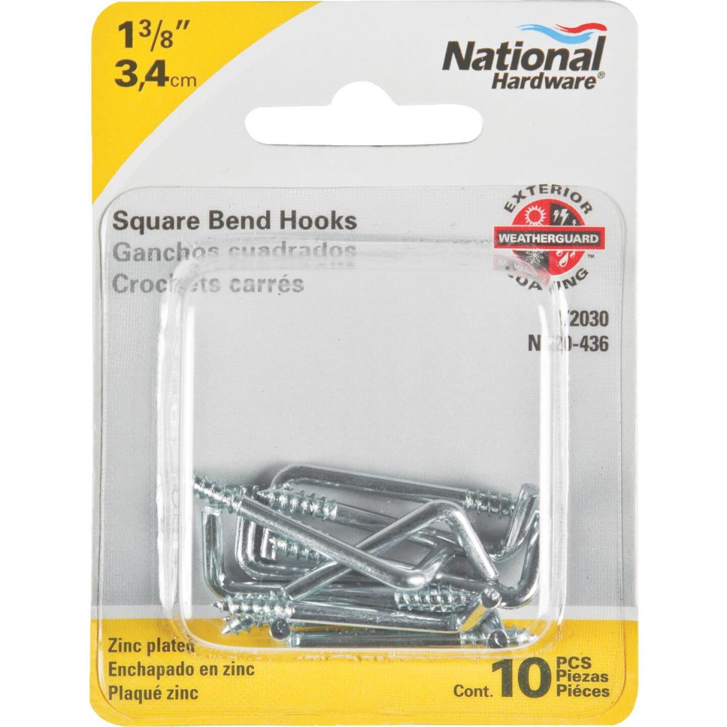 National 2030 Series #112 Square Bend Screw Hook Shoulder Hook (10 Count) Image 2