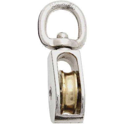 National 1 In. O.D. Single Swivel Eye No-Rust Rope Pulley