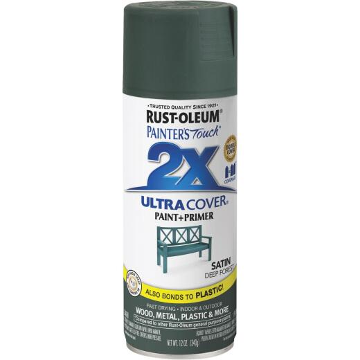 Rust-Oleum Painter's Touch 2X Ultra Cover 12 Oz. Deep Forest Satin Spray Paint